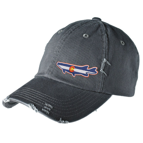 Colorado Pike Distressed Cap - Nickel - Side Embroidery