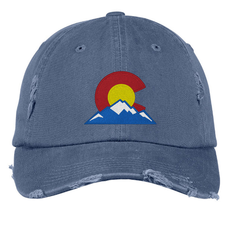 Colorado Mountain Distressed Cap - Scottland Blue