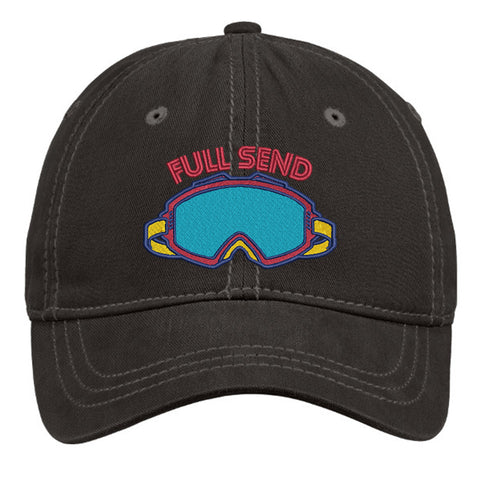 Full Send Thick Stitch Distressed Cap - Black