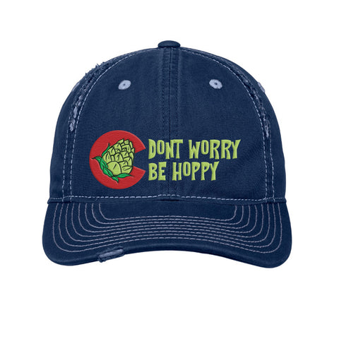 Don't Worry Be Hoppy Colorado Beer Distressed Cap - Navy