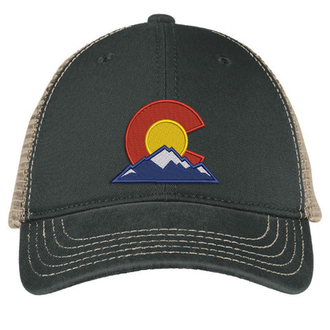Colorado Mountain C Super Soft Mesh Snap Back Trucker Hat - Black & Khaki