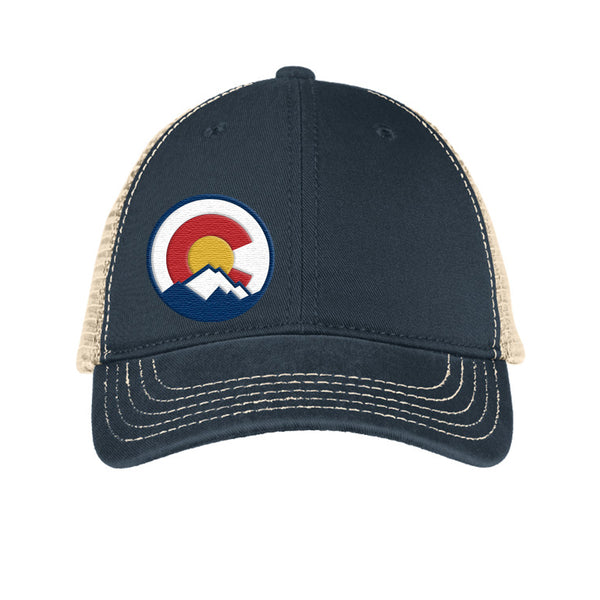Colorado Mountain Logo Super Soft Mesh Snap Back Trucker Hat - Navy & Stone