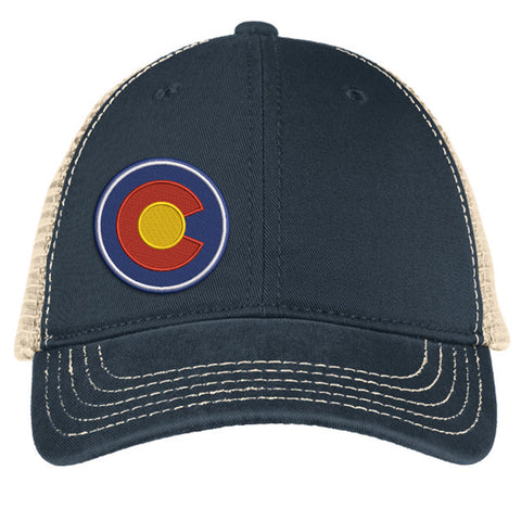 Colorado Circle C Super Soft Mesh Snap Back Trucker Hat - Navy & Stone