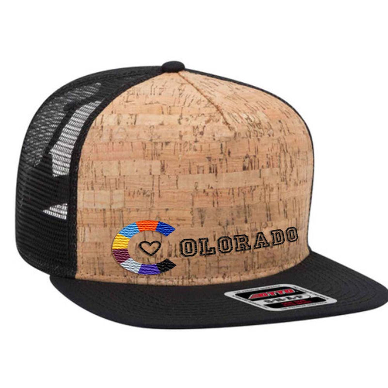 Colorado Team Colors - Cork Flat Bill Trucker Hat - Black