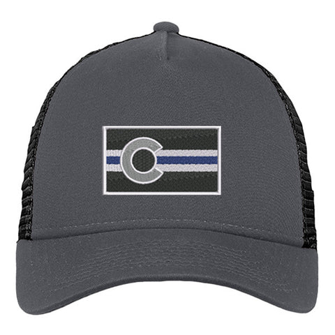 Colorado Police Flag Snap Back Trucker Hat -Graphite Black