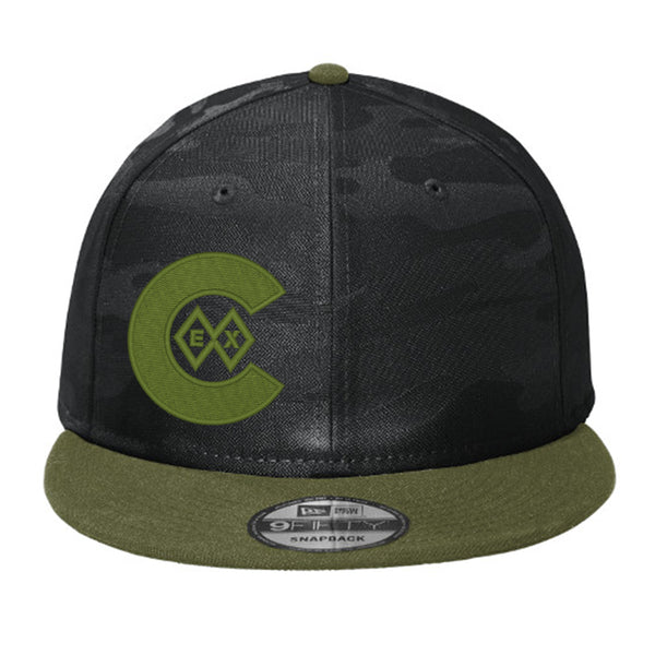 Double Diamond Green - Flat Bill Snap Back Hat - Black Camo