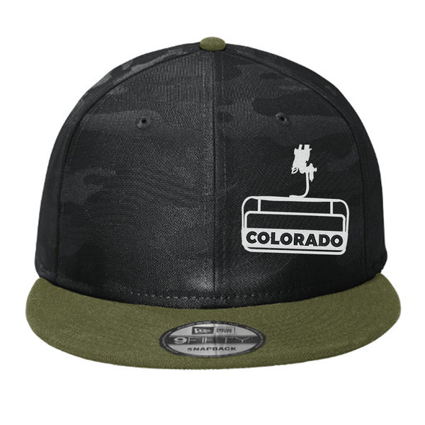 Colorado Chairlift- Flat Bill Snap Back Hat - Army+Black Camo