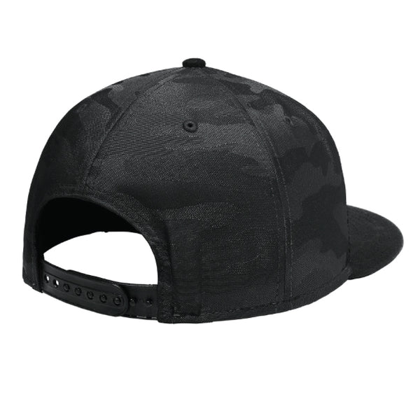 Double Diamond White - Flat Bill Snap Back Hat - Black Camo
