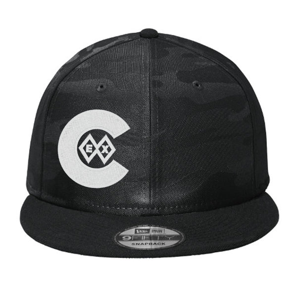 Double Black Diamond_Logo Right_Flat Bill Snap Back Hat - Black Camo