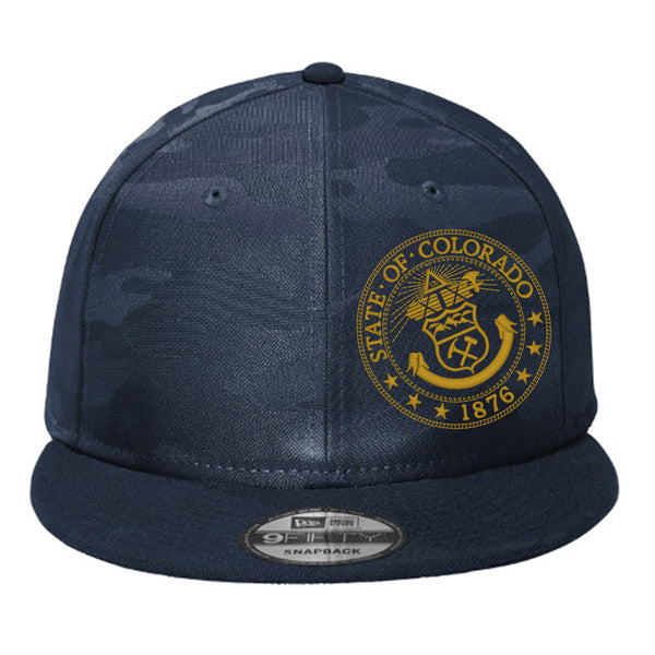 Colorado Seal Flat Bill Snap Back Hat - Deep Navy Camo