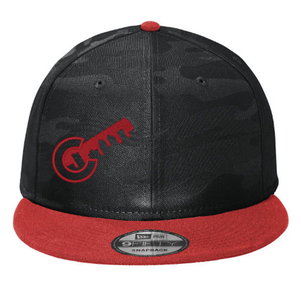 Colorado Key Flat Bill Snap Back Hat - Black & Red Camo