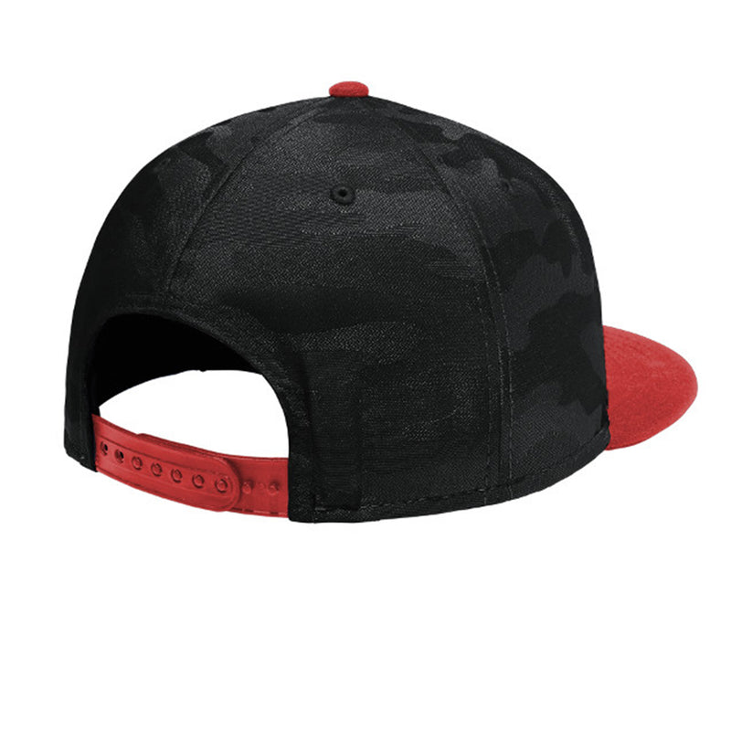 Red Rocks_Colorado_Flat Bill Snap Back Hat - Black & Red Camo