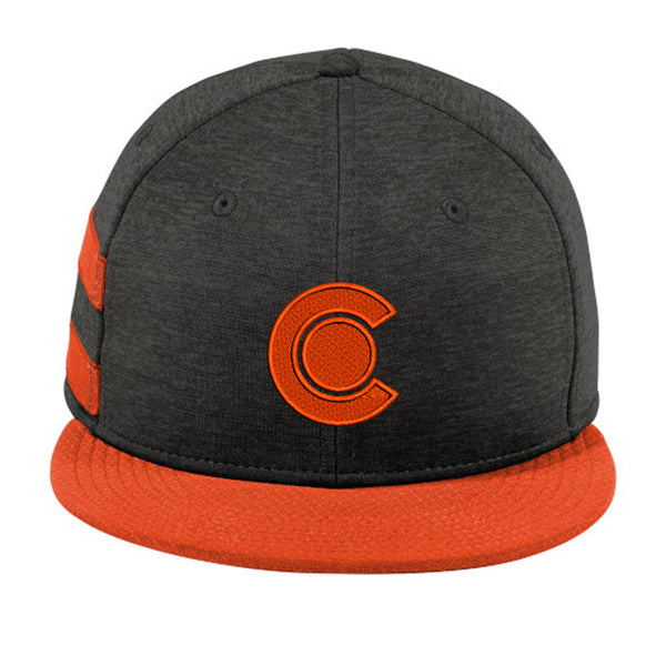 Colorado Stripe Flat Bill Snap Back Hat - Black Shadow / Deep orange