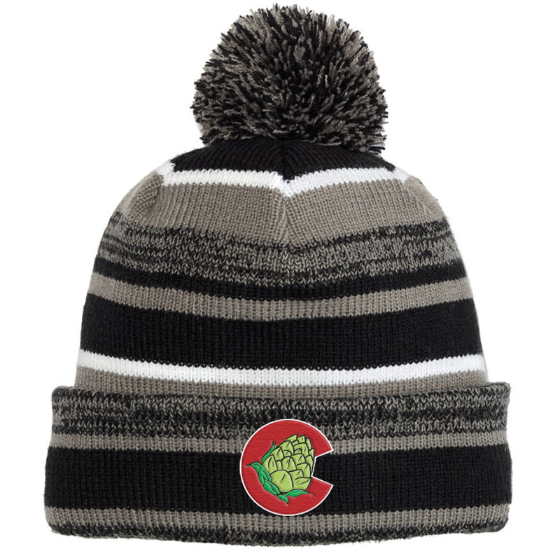 Colorado Hops Quality Chunky Pom Pom Beanie - Black Graphite