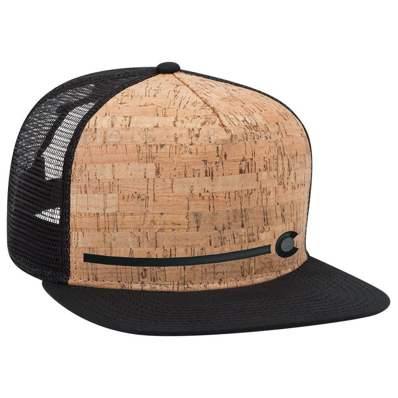 Colorado Stripe - Cork Flat Bill Trucker Hat - Black
