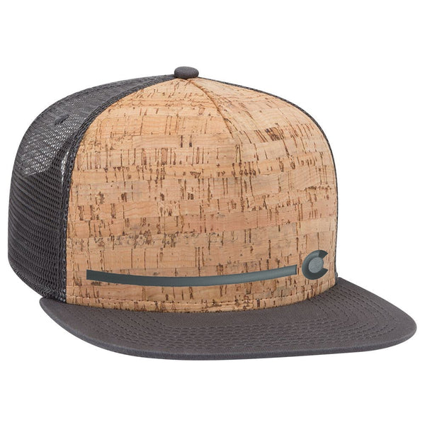 Colorado Stripe - Cork Flat Bill Trucker Hat - Grey