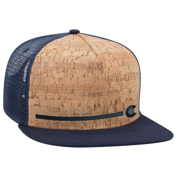 Colorado Stripe - Cork Flat Bill Trucker Hat - Navy