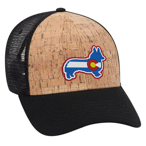 Corgi Flag - Cork Trucker Hat - Black