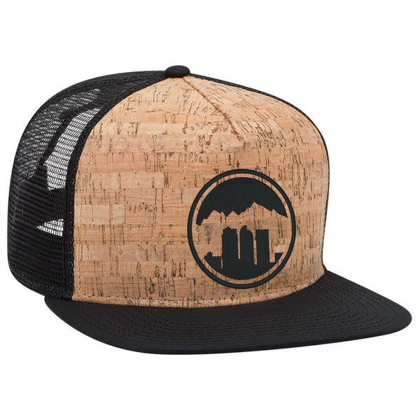 Denver Skyline - Cork Flat Bill Trucker Hat - Black