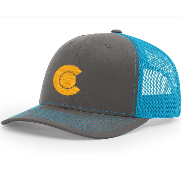 Colorado C - Gold -Trucker Hat - Charcoal/ Neon Blue