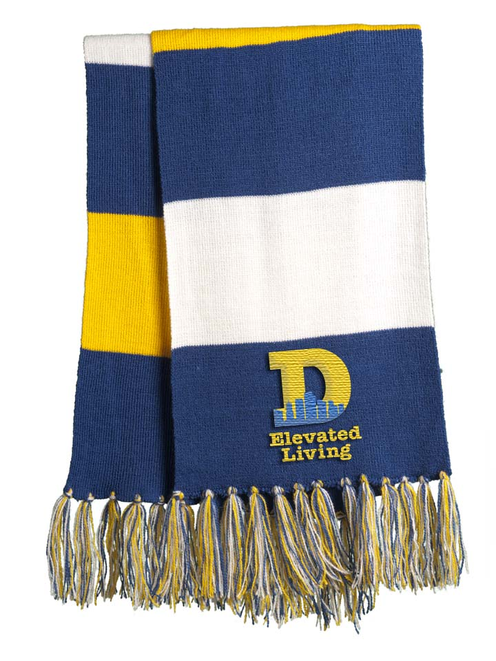 Denver Elevated Living Scarf - True Royal - Gold - White
