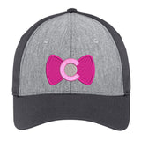 Colorado Pink Bowtie Snap Back Trucker Hat - Vintage Heather & Iron Grey