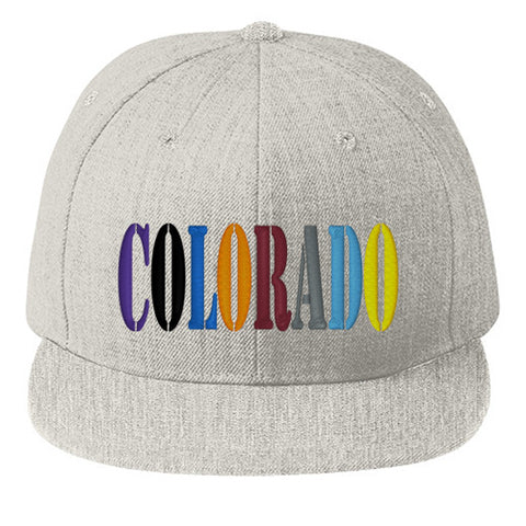 Colorado Team Colors Flat Bill Snap Back Hat - Heather Grey
