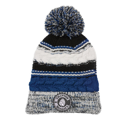 Colorado Crafted Quality Chunky Pom Pom Beanie - Royal Blue & Grey