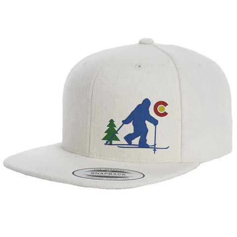 Bigfoot Skis Colorado - Wool Flat Bill Snap Back Hat - Natural