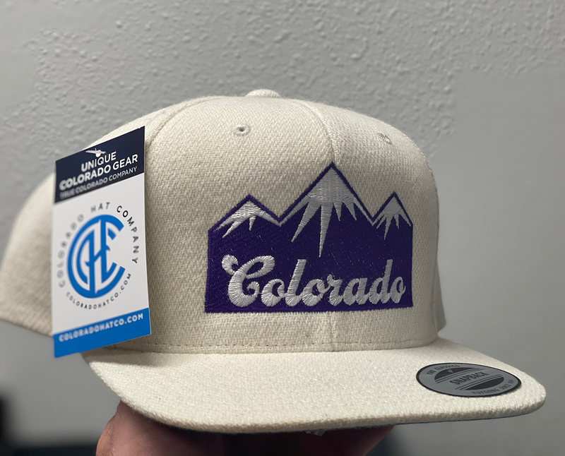 Colorado Purple Mountains - Wool Flat Bill Snap Back Hat - Natural
