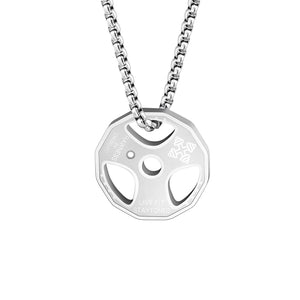 Stainless Steel Fitness Weight Plate Necklace