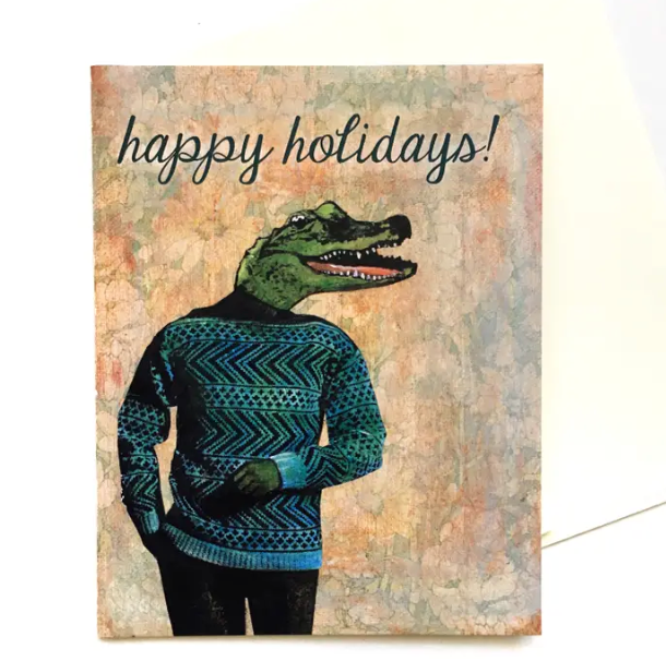Alligator Holiday Greeting Card