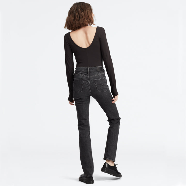 Levis 724 High Rise Straight Black/32