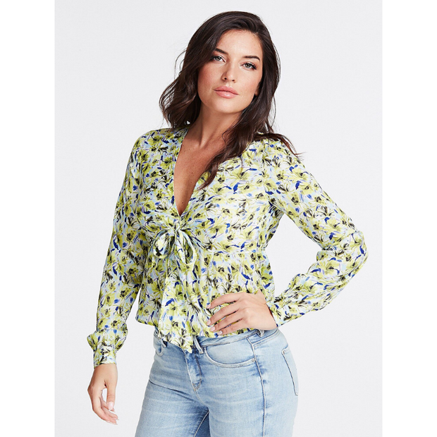 Guess All Over Print Knotted Blouse