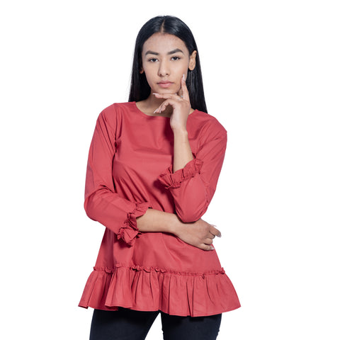 Dropped Waist Frilled Top