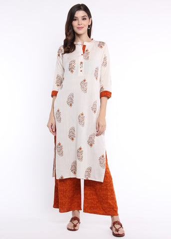 Off White Floral Kurta with Rust Palazzo Set