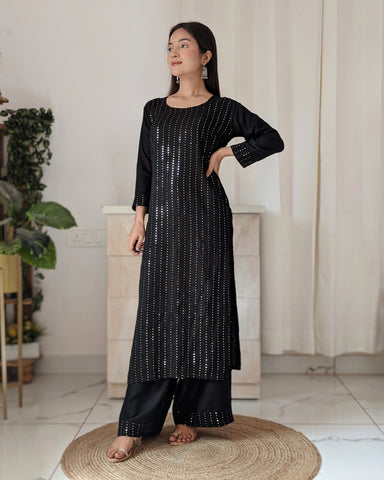 Black Sequined Kurta and Palazzo Set