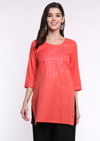 Mirror & Thread Embroidered Coral Kurti