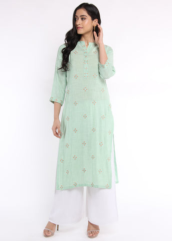 Sea Green Floral Motif Embroidered Kurta