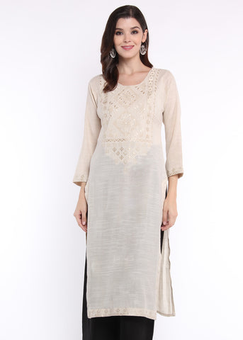Self Thread Embroidered Beige Kurta