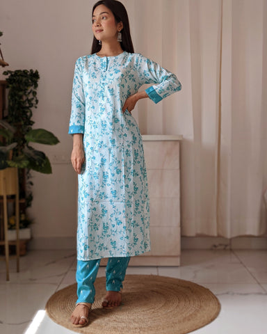 Blue Floral and Ikat Kurta and Trouser Set
