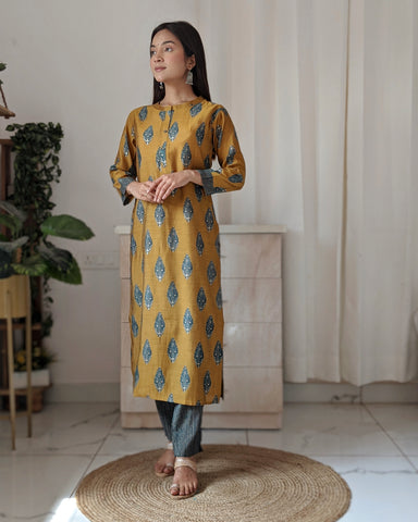 Yellow Ochre Chanderi Kurta and Striped Trouser Set