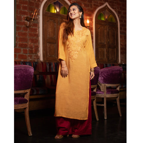 Self Embroidered Kurta and Palazzo Set