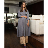 A-Line Buttoned Kurta and Chikenkari Palazzo