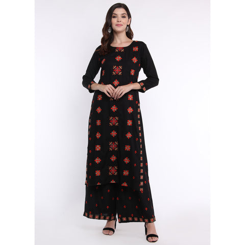Floral Embroidery Black Kurta and Palazzo Set