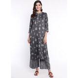 Ikat Print Monochrome Kurta and Palazzo Set