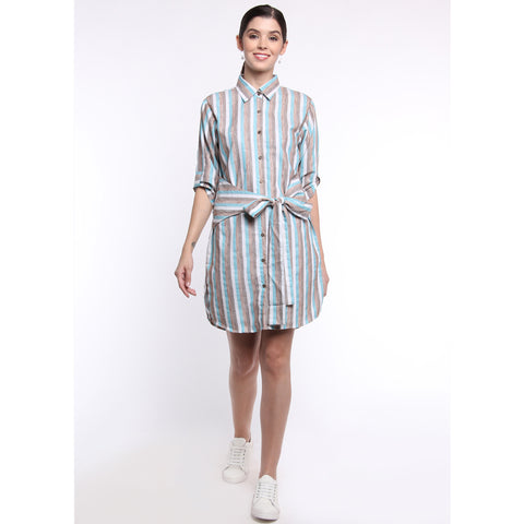 Striped Waist Tie Shirt Dress