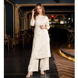 Off White Kurta and Palazzo Set