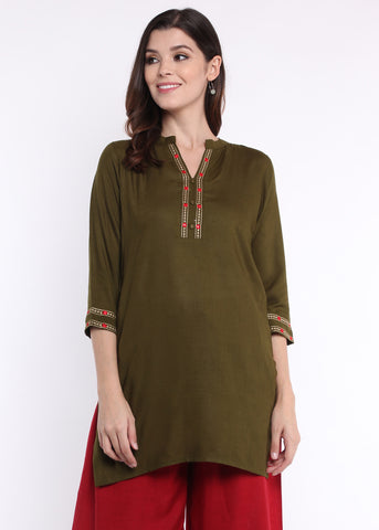 Olive Green Chain Embroidered kurti