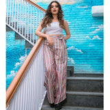 Strapped Crop and Striped Paper Bag Trousers